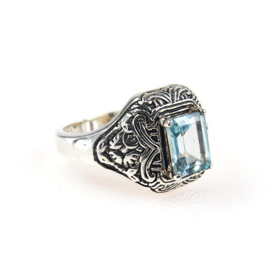 Victorian Inspired Blue Topaz Ring Victorian, 1830s to 1900s