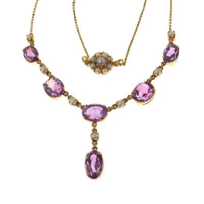 Victorian Revival Amethyst Pearl Gold Lavalier Necklace Vintage, 1930s to 1980s