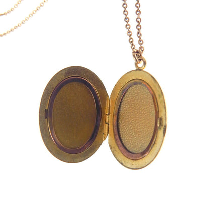 Victorian Revival Etched Cover Locket Necklace Vintage, 1930s to 1980s