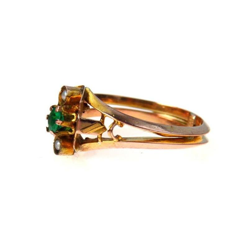 Victorian Rose-y Gold Ring Faux Emerald Seed Pearls Victorian, 1830s to 1900s
