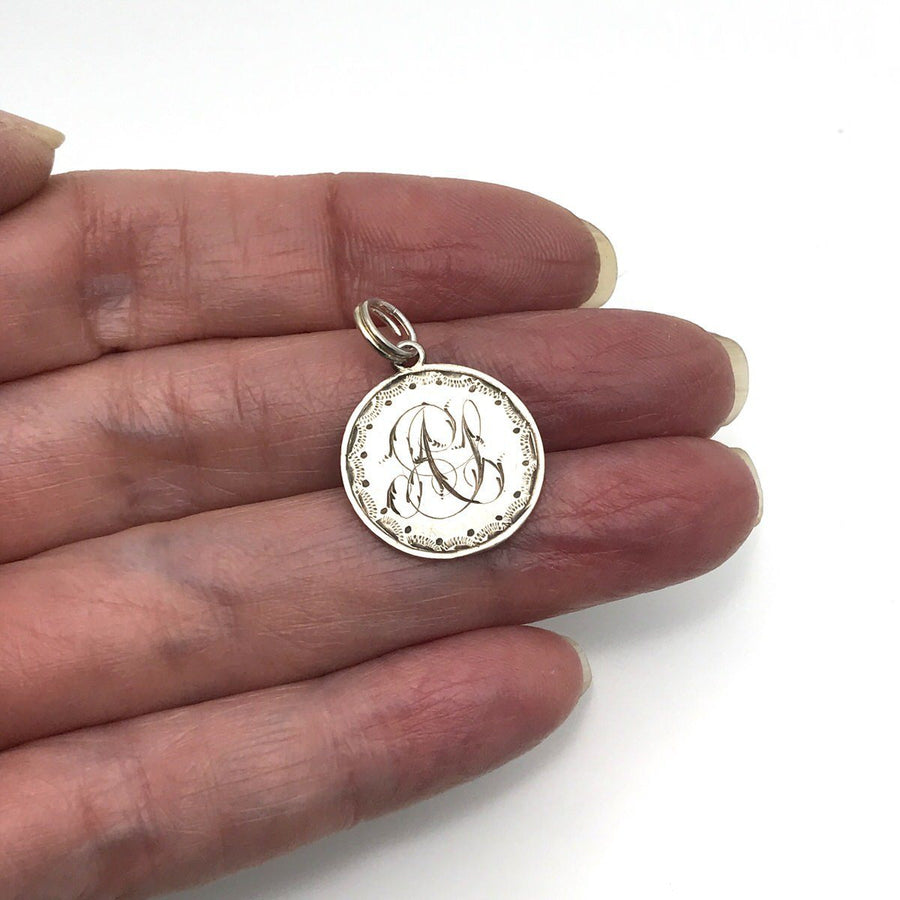 Victorian Silver Love Token Charm Engraved AS Victorian, 1830s to 1900s