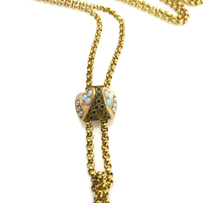 Victorian Slide Chain Necklace with Opals Victorian, 1830s to 1900s