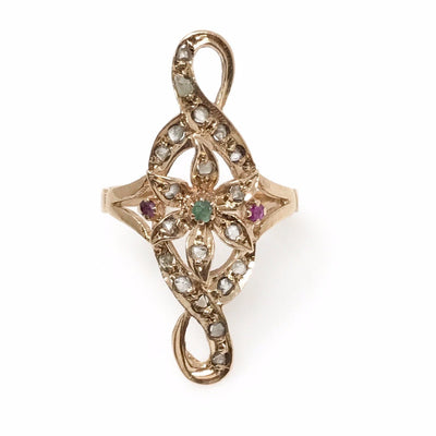 Victorian Statement Ring : Emerald, Ruby and Uncut Diamonds Victorian, 1830s to 1900s