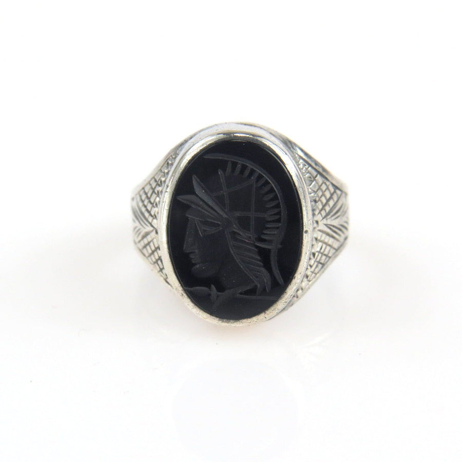 Victorian Sterling Mars Intaglio Signet Ring Victorian, 1830s to 1900s