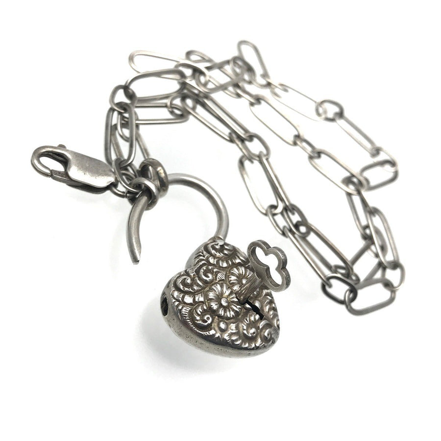 Victorian Sterling Silver Heart Padlock Necklace with Key Victorian, 1830s to 1900s