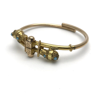 Victorian Turquoise and Rose-y Gold Bypass Bracelet Victorian, 1830s to 1900s