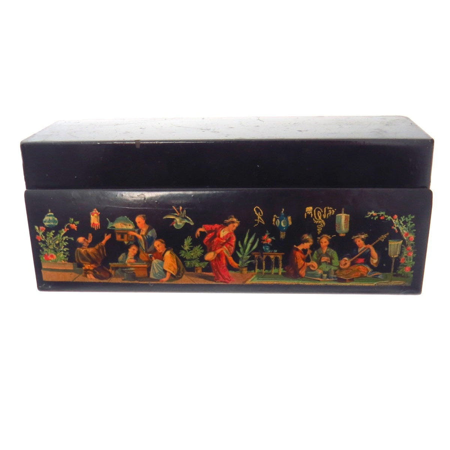 Vintage Hand Painted Lacquered Pencil Box Edwardian, 1901 to 1920s