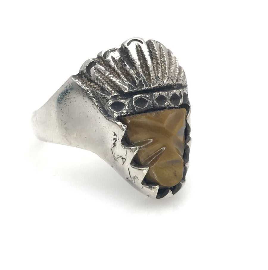 Vintage Mexican Biker Ring The Chief Carved Tiger Eye Face Vintage, 1930s to 1980s