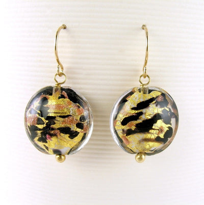 Sommerso Venetian Glass Gold Earrings