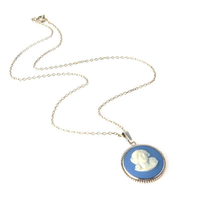 Vintage Sterling Silver Blue Wedgwood Pendant Necklace Vintage, 1930s to 1980s