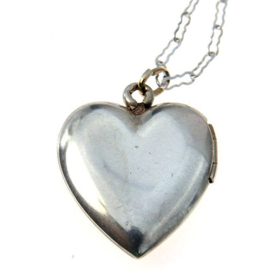 Vintage Sterling Silver Heart Locket Necklace Vintage, 1930s to 1980s