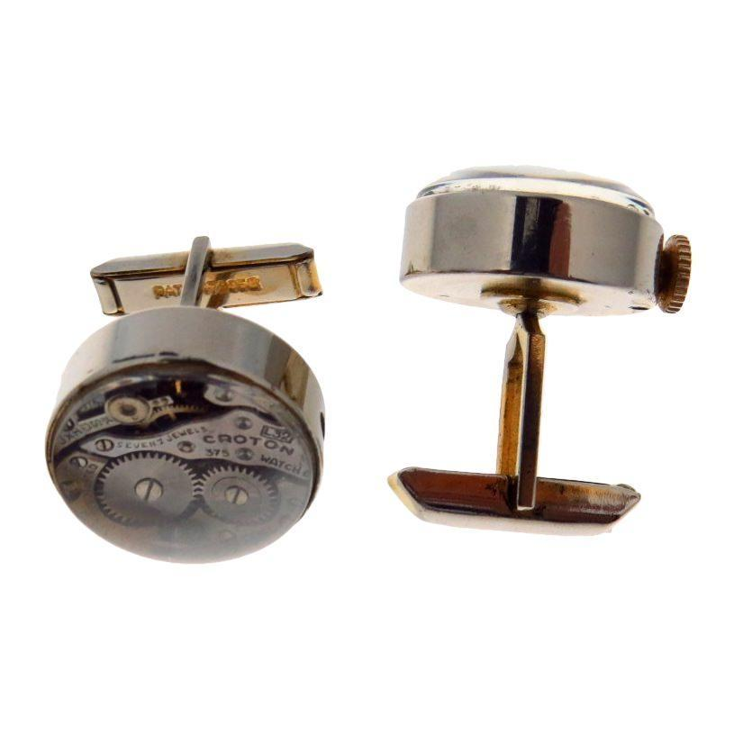 Watch Cufflinks Functional Mechanical Movement Vintage, 1930s to 1980s