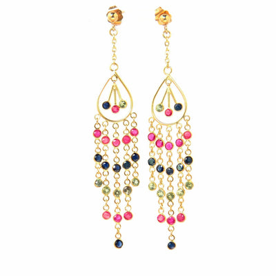 Watermelon Tourmaline Waterfall Earrings in 14k Gold