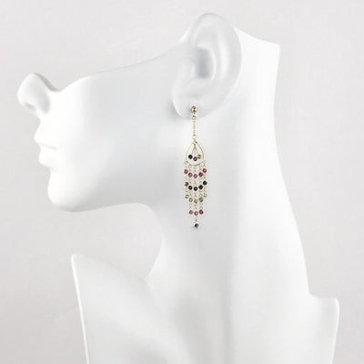 Watermelon Tourmaline Cascade Earrings in 14k Gold Contemporary, Post 1990