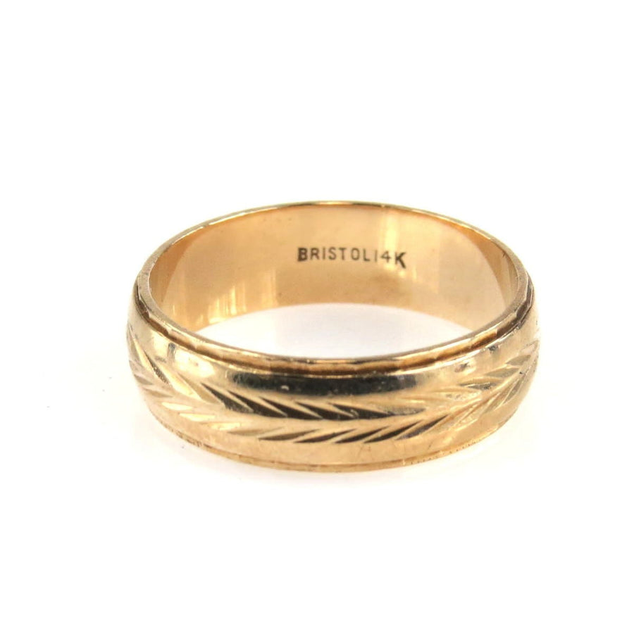 Wheat Cut Wide Gold Band Ring Vintage, 1930s to 1980s