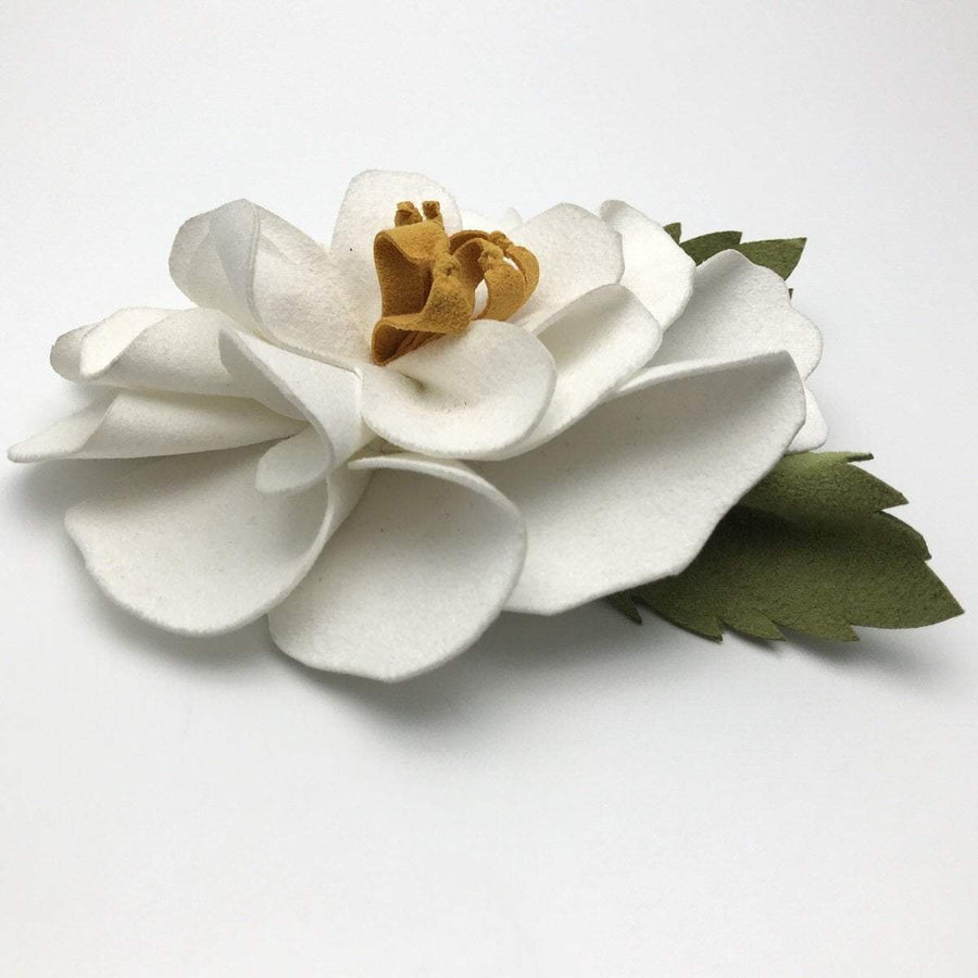 White Camelia Flower Brooch Vintage, 1930s to 1980s