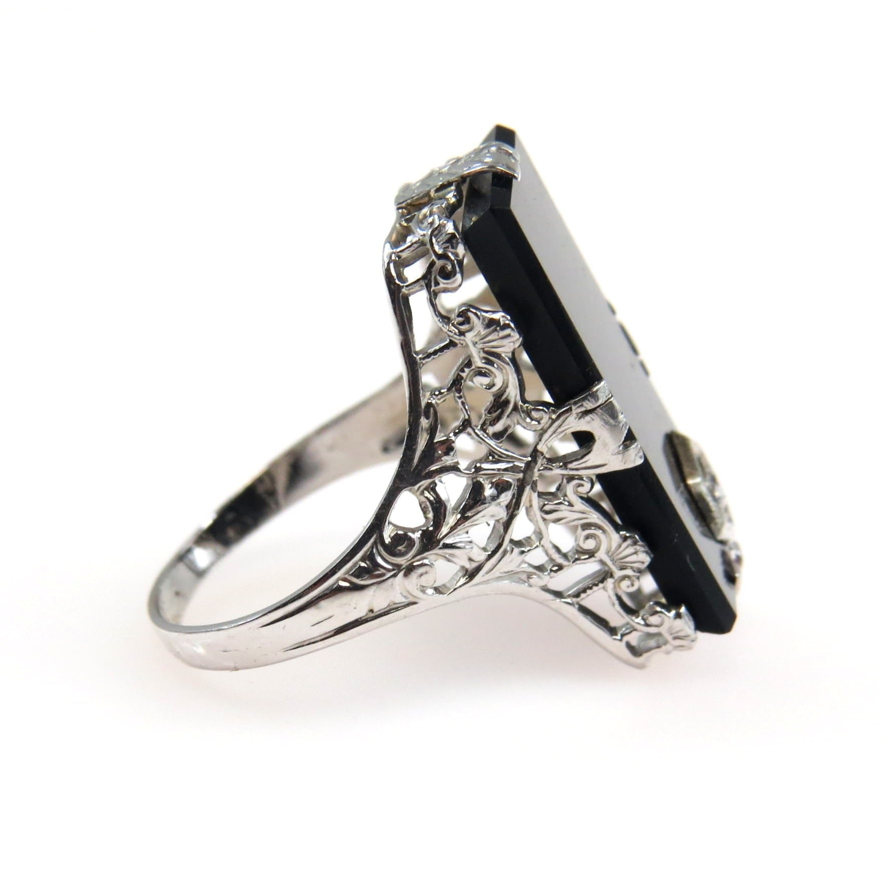 White Gold Filigree Black Onyx Diamond Art Deco Ring Art Deco, 1920s To  1930s