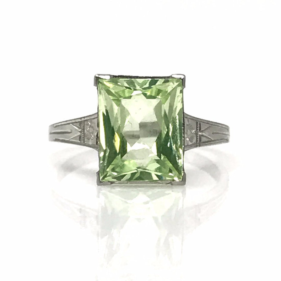 White Gold Green Topaz Ring Vintage, 1930s to 1980s