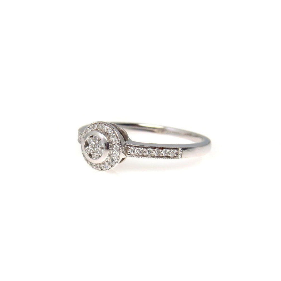 White Gold Moissanite Illusion Setting Ring Contemporary, Post 1990