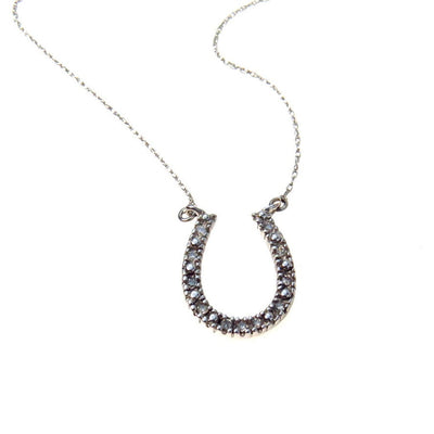 White Gold Moissanite Lucky Horse Shoe Necklace Vintage, 1930s to 1980s