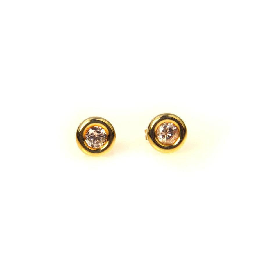 White Topaz Bezel Set Stud Earrings in 14k Yellow Gold