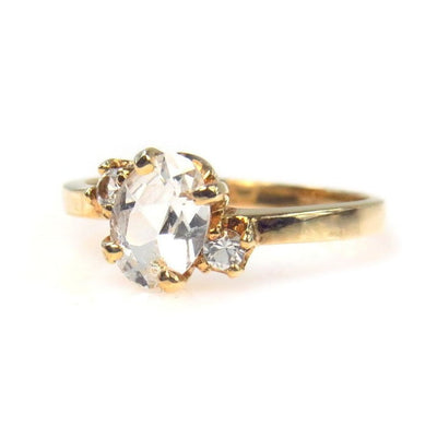 White Topaz Gold Angled Setting Ring Vintage, 1930s to 1980s