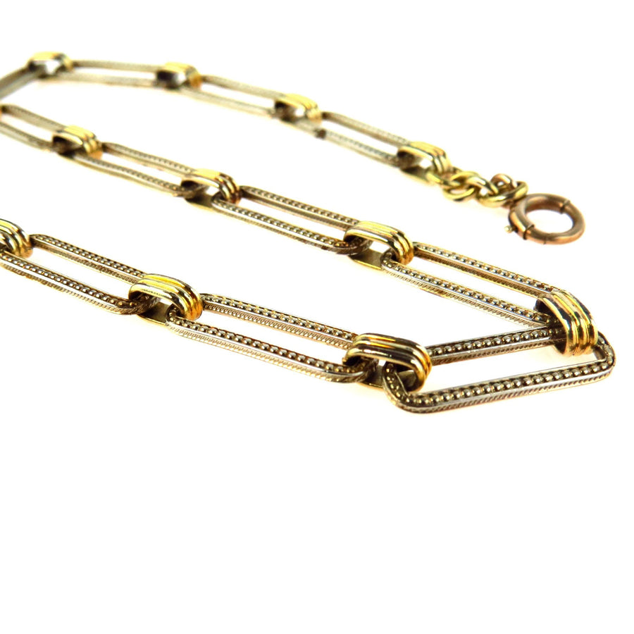0511fcfc2b0 White   Yellow Gold Filled Large Link Watch Chain Vintage