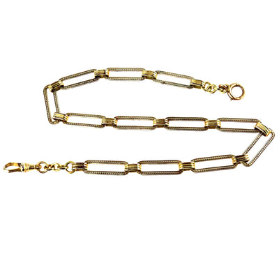 White & Yellow Gold Filled Large Link Watch Chain Vintage, 1930s to 1980s