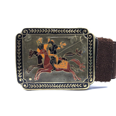Wide Boho Belt Hand Enameled Polo Players Buckle Vintage, 1930s to 1980s