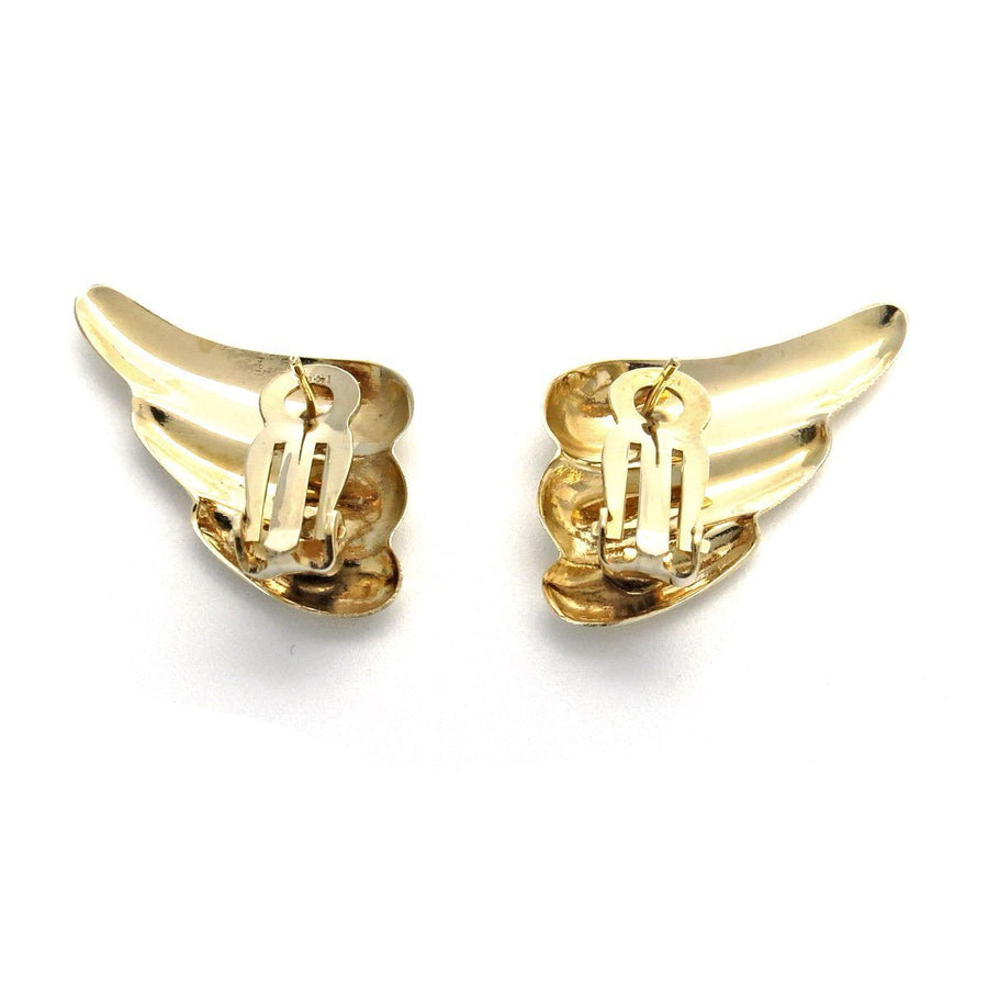 Wing Shaped 14k Gold Statement Earrings Vintage, 1930s to 1980s