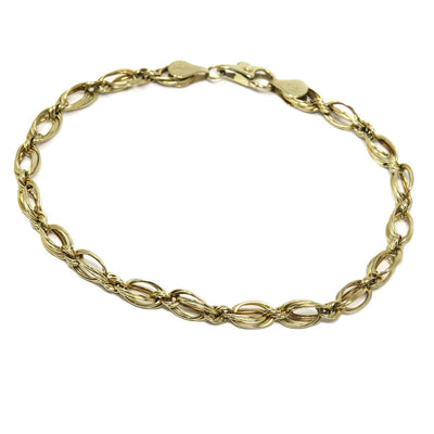 Wire Wrapped Links 14k Gold Bracelet Contemporary, Post 1990