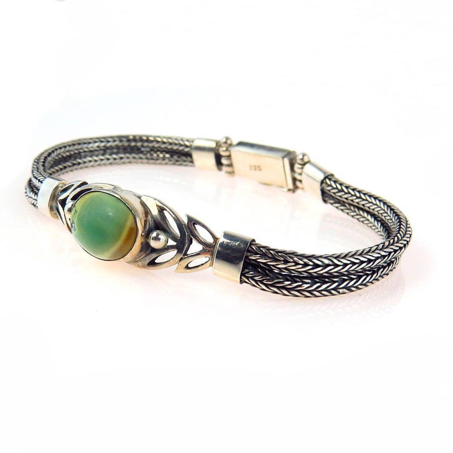 Woven Sterling Silver Green Turquoise Bracelet Vintage, 1930s to 1980s
