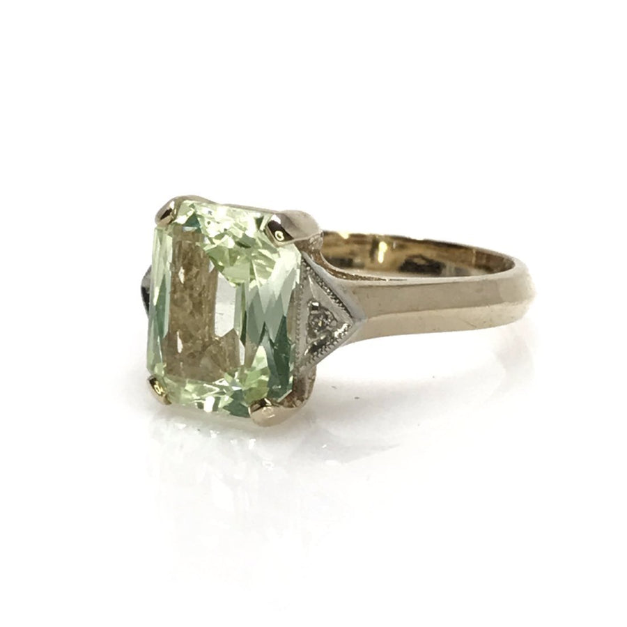 Yellow Gold Celadon Green Topaz Ring