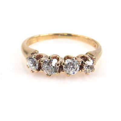 Yellow Gold Diamond 4 Stone Ring 0.6 TCW Vintage, 1930s to 1980s