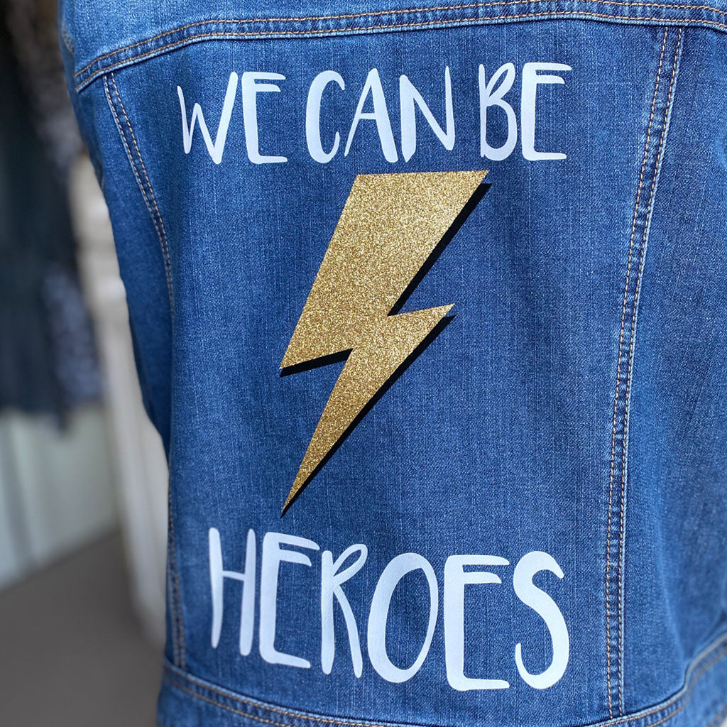 Women's Size 18 We Can Be Heroes Customised Denim Jacket