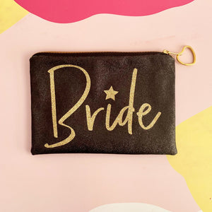 Black glitter Bride clutch bag