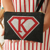 Super Girl Personalised Clutch Bag with Detachable Strap