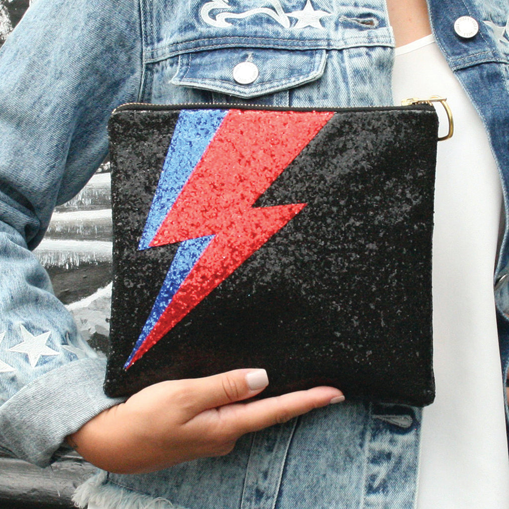 Black Glitter Lightning Bolt Clutch Bag