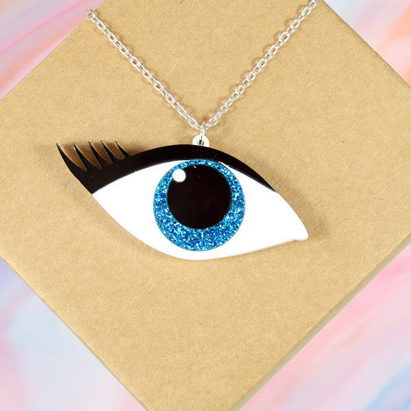 Blue Eye Glitter Necklace