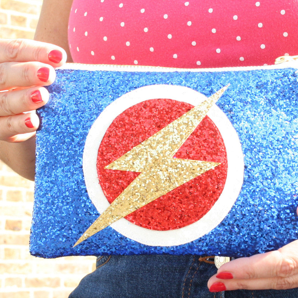 Superhero Flash Clutch Bag in Blue