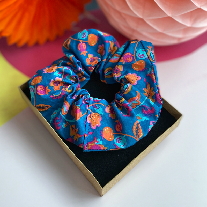 Teal Blue floral illustration XL Hair Scrunchie Gift Box