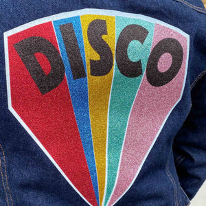 Women's Size 10 Disco Beams Customised Dark Indigo Denim Jacket