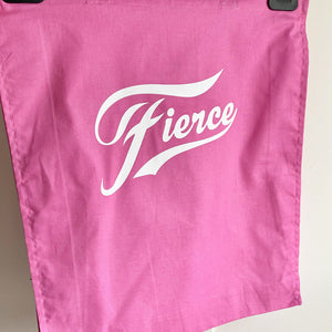 Retro style pink cotton tote bag