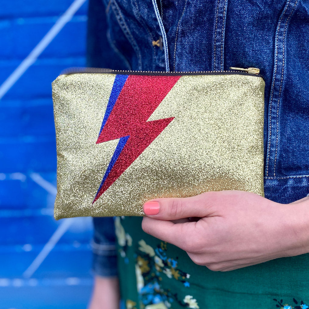 Glittery Gold Double Lightning Bolt Clutch Bag
