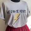 We can be Heroes Soft Grey Organic Rolled Sleeve Cotton T-shirt