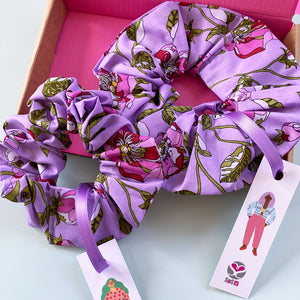 Mother and Daughter Matching Lilac Poppies Hair Scrunchies Gift Box