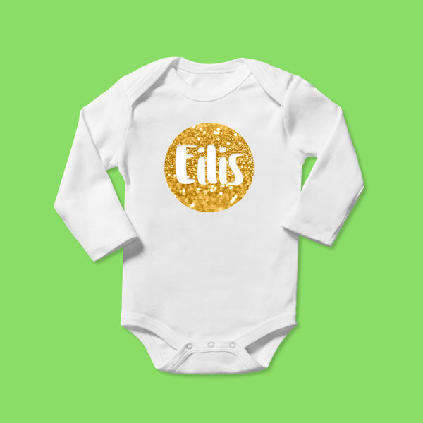 Personalised Baby Bodysuit in Glittery Gold Bubble Design