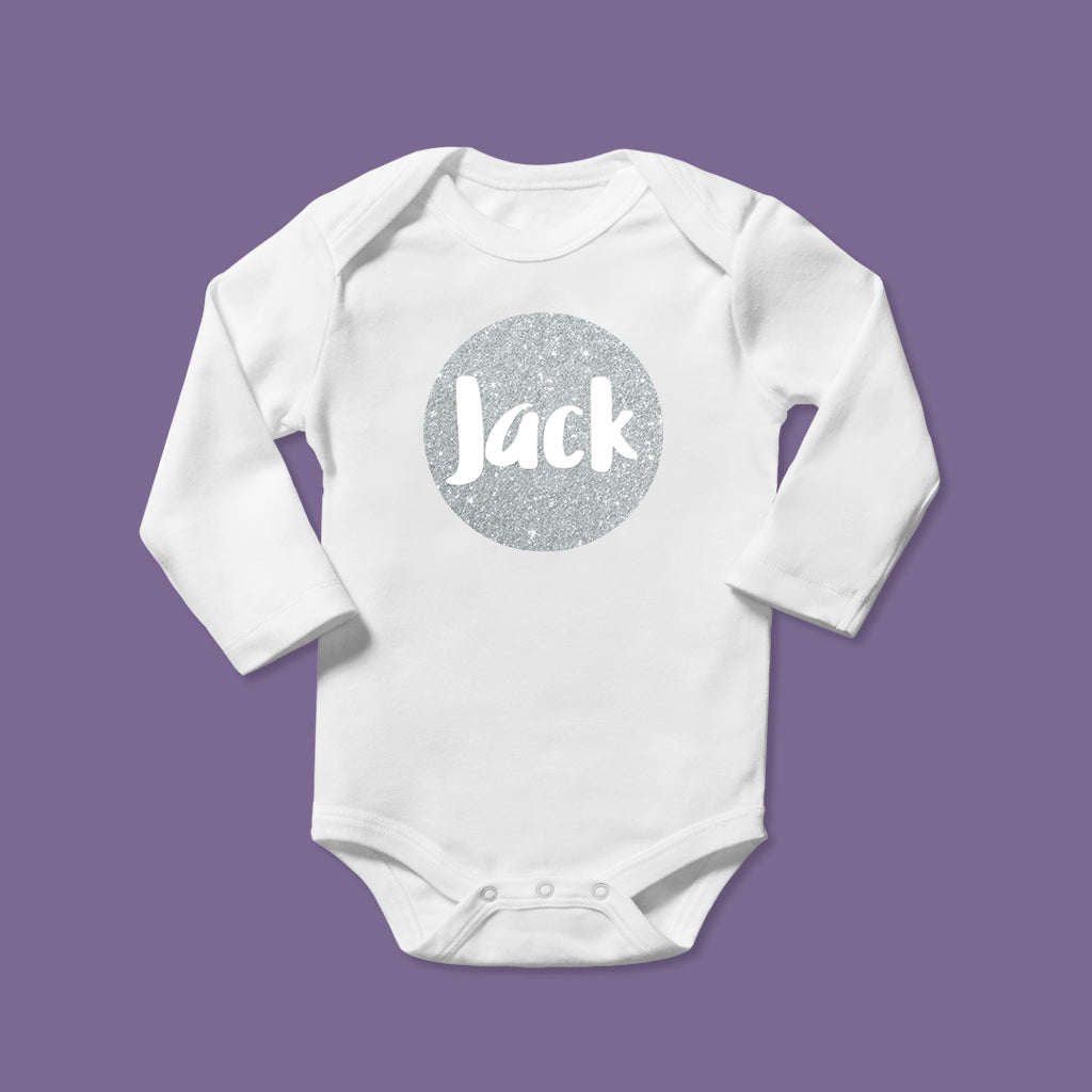 Personalised Baby Bodysuit in Sparkly Silver Design
