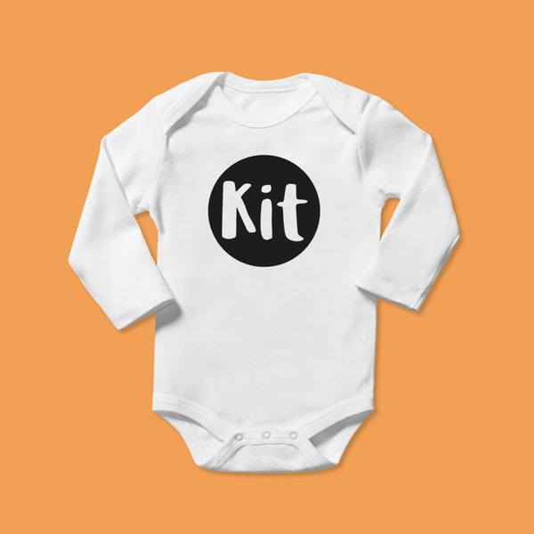 Personalised Baby Bodysuit in Black Bubble Design