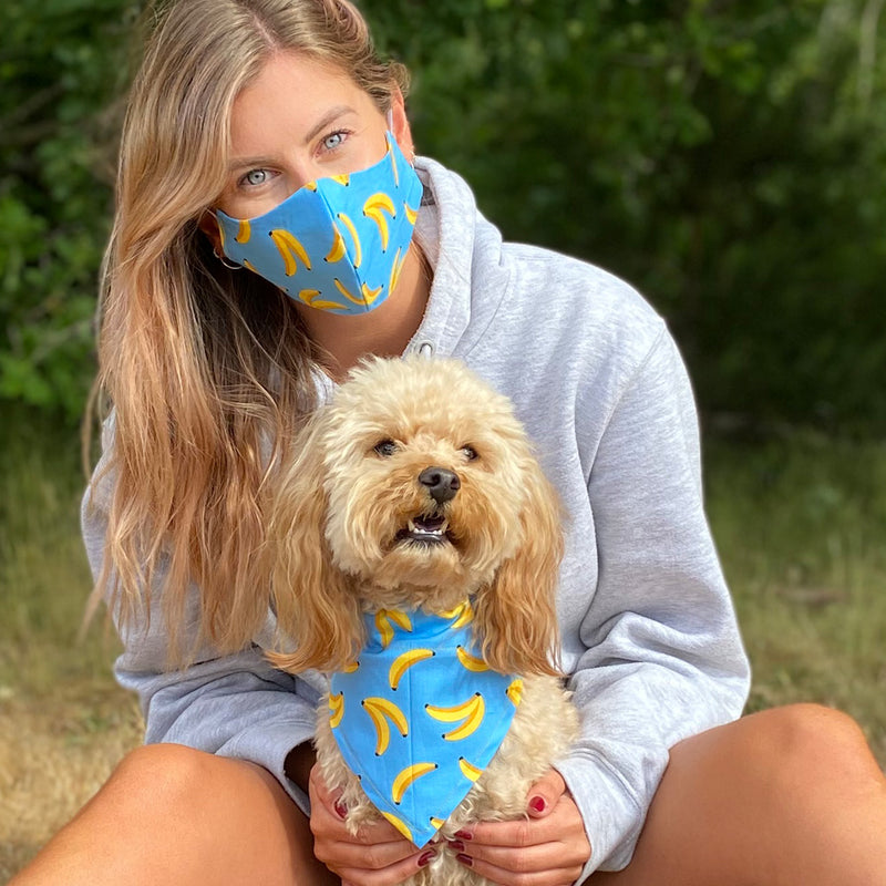 Matching Washable Face mask and Dog Bandana Set
